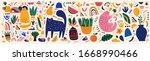 doodles collection. decorative... | Shutterstock .eps vector #1668990466