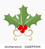 Holly berry - three leaves and red fruits. Vector illustration  - stock vector