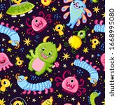 funny pattern with aliens on a... | Shutterstock .eps vector #1668995080