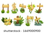 wooden sign in jungle... | Shutterstock .eps vector #1669000900