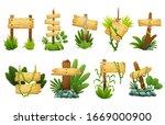 wooden sign in jungle...   Shutterstock .eps vector #1669000900