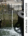 Small photo of lock to make a watercourse with level ladder navigable