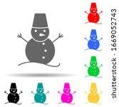 snowman multi color style icon. ...