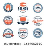 vector salmon logo on a white... | Shutterstock .eps vector #1669062910