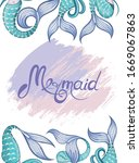 mermaid tails  marine elements. ... | Shutterstock .eps vector #1669067863