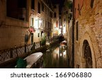 View of beautiful Venetian canal at night, Venice, Italy - stock photo