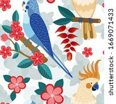 exotic parrots pattern with... | Shutterstock .eps vector #1669071433