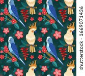 exotic parrots pattern with... | Shutterstock .eps vector #1669071436