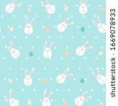 easter eggs background. happy...   Shutterstock .eps vector #1669078933