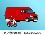 delivery van and bike ready for ... | Shutterstock .eps vector #1669106203