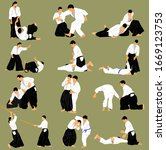 fight between two aikido...   Shutterstock .eps vector #1669123753