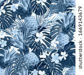 seamless hand drawn tropical... | Shutterstock .eps vector #1669143679