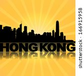 hong kong skyline reflected... | Shutterstock . vector #166915958