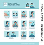 how to wear a surgical mask... | Shutterstock .eps vector #1669179283