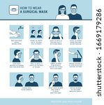 how to wear a surgical mask... | Shutterstock .eps vector #1669179286