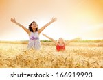 little girls with arms... | Shutterstock . vector #166919993