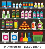 shop shelving with household... | Shutterstock .eps vector #1669218649
