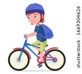 Boy Riding A Bike. Vector...