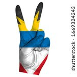 victory finger gesture with...   Shutterstock .eps vector #1669324243
