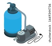 pool motor pump icon. isometric ... | Shutterstock .eps vector #1669344736