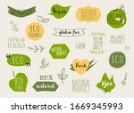 collection of green labels and... | Shutterstock .eps vector #1669345993