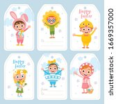 happy easter greeting card set. ... | Shutterstock .eps vector #1669357000