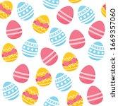 happy easter seamless pattern.... | Shutterstock .eps vector #1669357060