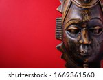 Ancient wooden african mask on...
