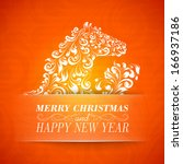 christmas greeting card.... | Shutterstock .eps vector #166937186