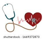 red heart with white heartbeat...   Shutterstock .eps vector #1669372873