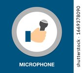microphone in hand concept icon....