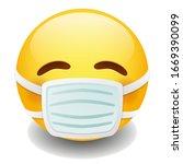 medical mask emoji kawaii face. ... | Shutterstock .eps vector #1669390099