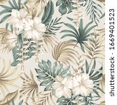 tropical floral foliage palm... | Shutterstock .eps vector #1669401523