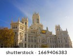 Cibeles Palace (Communications Palace) at the Plaza de Cibeles in Madrid, Spain