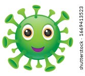 virus emoji kawaii face. vector ... | Shutterstock .eps vector #1669413523