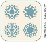 vector vintage snowflakes group ... | Shutterstock .eps vector #166942229