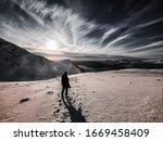Looking Back Down Snowy Scafel...