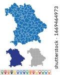 set outline maps of bavaria | Shutterstock .eps vector #1669464973