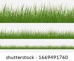 realistic grass borders  vector ... | Shutterstock .eps vector #1669491760