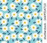 daisy seamless pattern on blue... | Shutterstock .eps vector #1669514713