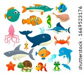 big collection cartoon sea... | Shutterstock .eps vector #1669523176