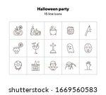 halloween party line icons. pot ... | Shutterstock .eps vector #1669560583