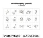 halloween party symbolic icons. ... | Shutterstock .eps vector #1669561003