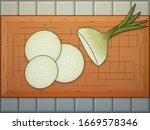 a white onion with stem  cut in ...