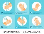 wash hands step by step vector. ... | Shutterstock .eps vector #1669608646