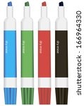set of colored markers for... | Shutterstock .eps vector #166964330