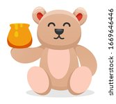 Cute Bear Eating Honey Cartoon...