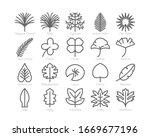 leaf outline line icon set... | Shutterstock .eps vector #1669677196