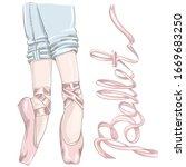 legs of a ballerina dressed in... | Shutterstock .eps vector #1669683250