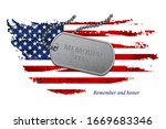 age worn us flag memorial with... | Shutterstock .eps vector #1669683346